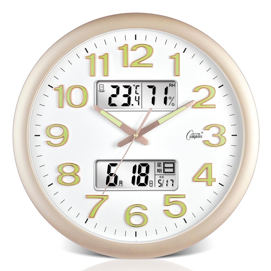 Luminous Calendar Digital Wall Clock Silent Fashion Creativity Living Room Simple Horloge Home Decoration Accessories AA50WC