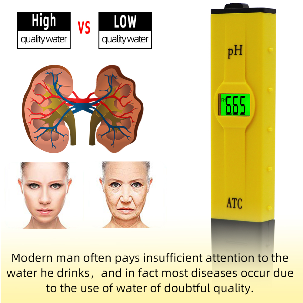 10PCS ATC PH meter swimming pool water ph test pen accuracy 0.01 / green backlight / temperature compensation function 31%Off