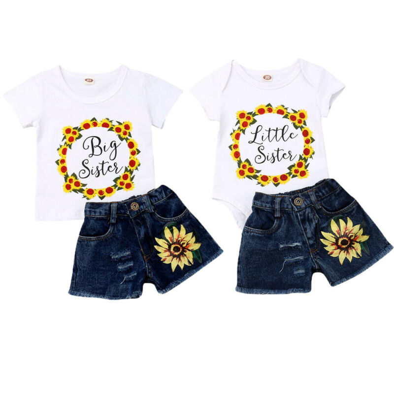 Little Sister Big Sister Match Two Pieces Sets Top Denim Short Set Matching Clothes