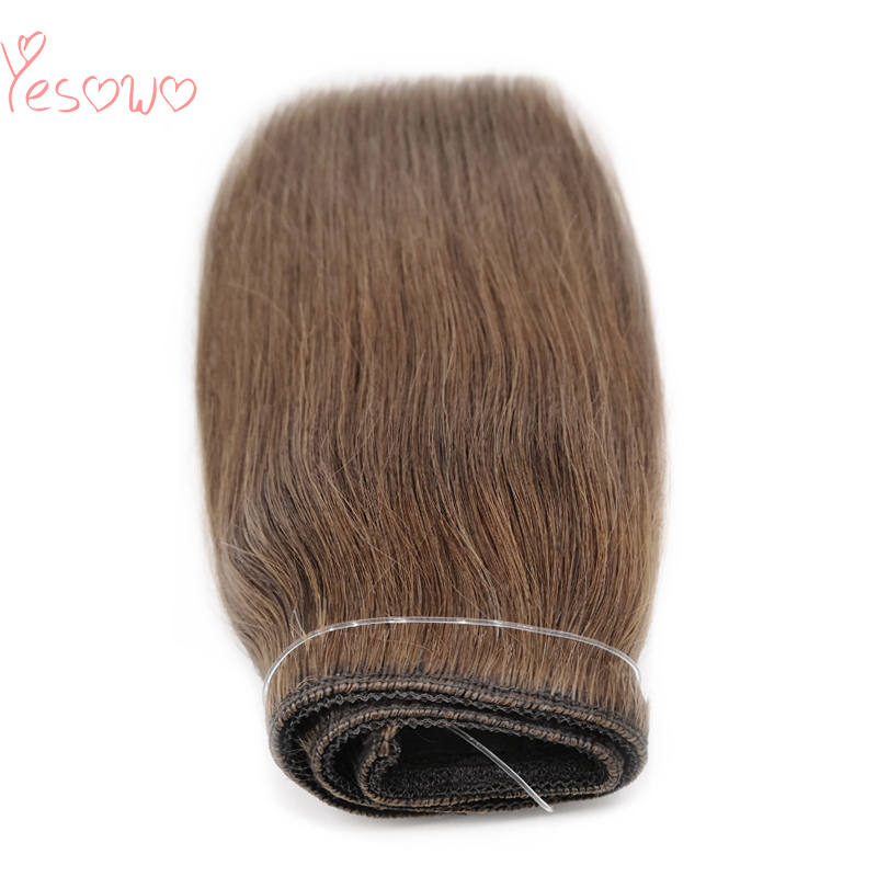 Yesowo Flip In Malaysian Real Remy Human Hair 100g 8# Light Brown Straight Hidden Secret Wire Finish Line Halo Hair Extensions
