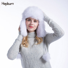 Hepburn brand Black/White Bomber cap Women fur hat for winter Ski Outdoor fashion warm beanies Windproof Waterproof Lady Cap
