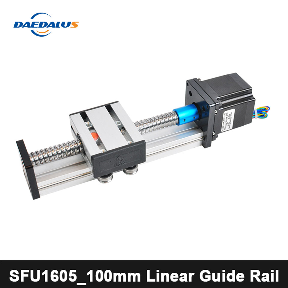 100mm Rail linéaire CNC routeur vis à billes SFU1605_100mm Rail de guidage linéaire pour gravure X Y Z Axies