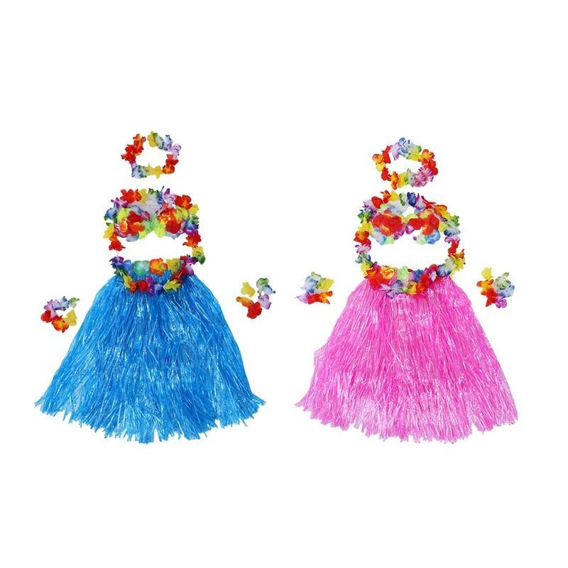 Hawaiian Grass Skirt Flower Hula Lei Wristband Necklace Fancy Dress Party Sets