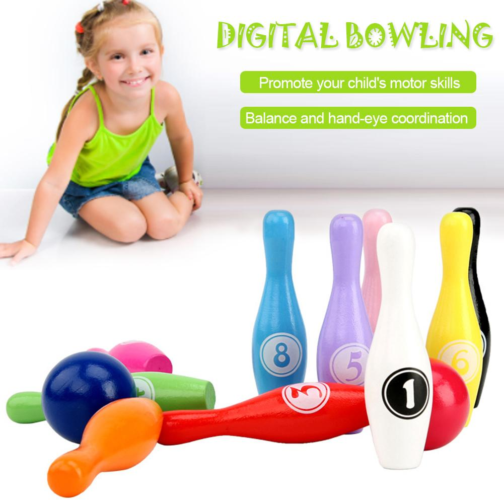 12pcs/set Wooden Colorful Digital Bowling Children's Educational Toy Indoor Outdoor Sports Bowling Game for Kids Children