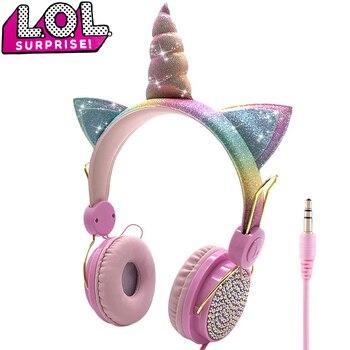 אוזניות LOL וחד קרן Unicorn עם מיקרופון לשמיעת מוסיקה