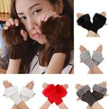Зимние перчатки детские перчатки с открытыми пальцами без пальцев Pom pom Faux Fur Wrist Mittens Knit Patchwork Guantes Plush Handschoenen
