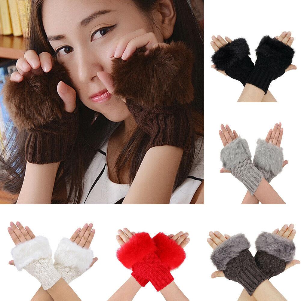 Winter Gloves Kids Fingerless Gloves Without Fingers Pom Pom Faux Fur Wrist Mittens Knit Patchwork Guantes Plush Handschoenen