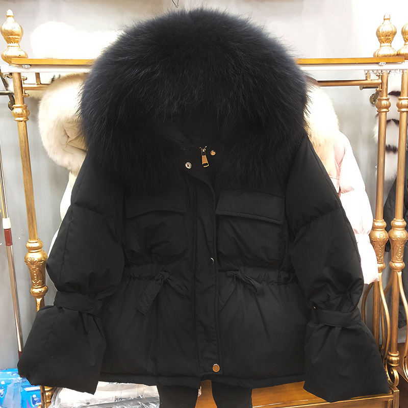 Image 2 - FTLZZ Large Natural Raccoon Fur Winter Jacket Women 90% White  Duck Down Coats Thick Warm Sash Tie Up Short Parkas  Snow CoatDown  Coats