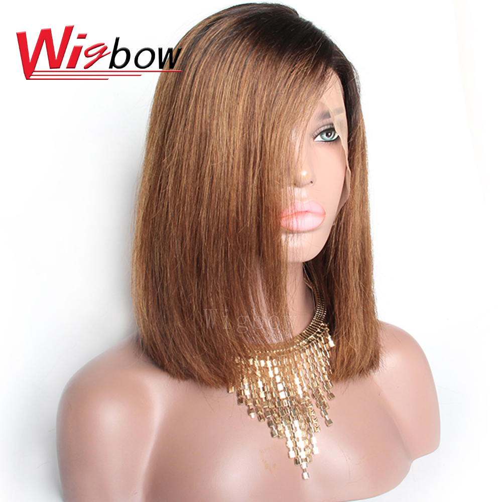 Wigbow OneCut Hair 1B 30 Ombre Color Brazilian Remy Hair Wigs Straight Lace Front Bob Wigs Pre Plucked Human Hair Wigs For Women