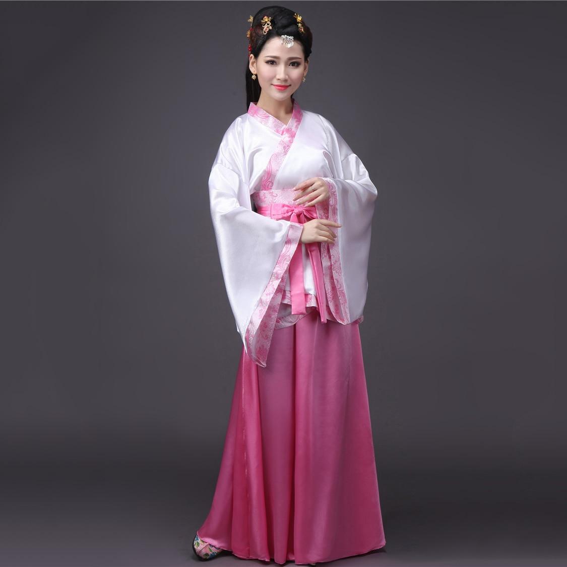 Women's Dress For Oriental Dancing Hanfu Female Traditional Chinese Clothing Purple Blue Red Pink White Hanfu Dance Dress