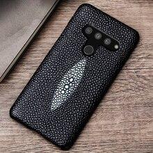 Etui z prawdziwej skóry etui na LG G8s V50 V10 V20 V30 V30S V40 G3 G4 G5 G6 G7 G8 G8X Q6 Q7 Q8 ThinQ K40 K50 perły ryby pokrywa