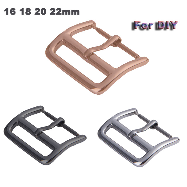 50pcs DIY  Pin Buckle For Samsung series watch Buckle 18mm 20mm 22mm button Stainless Steel Silver Polished Watchband Buckles