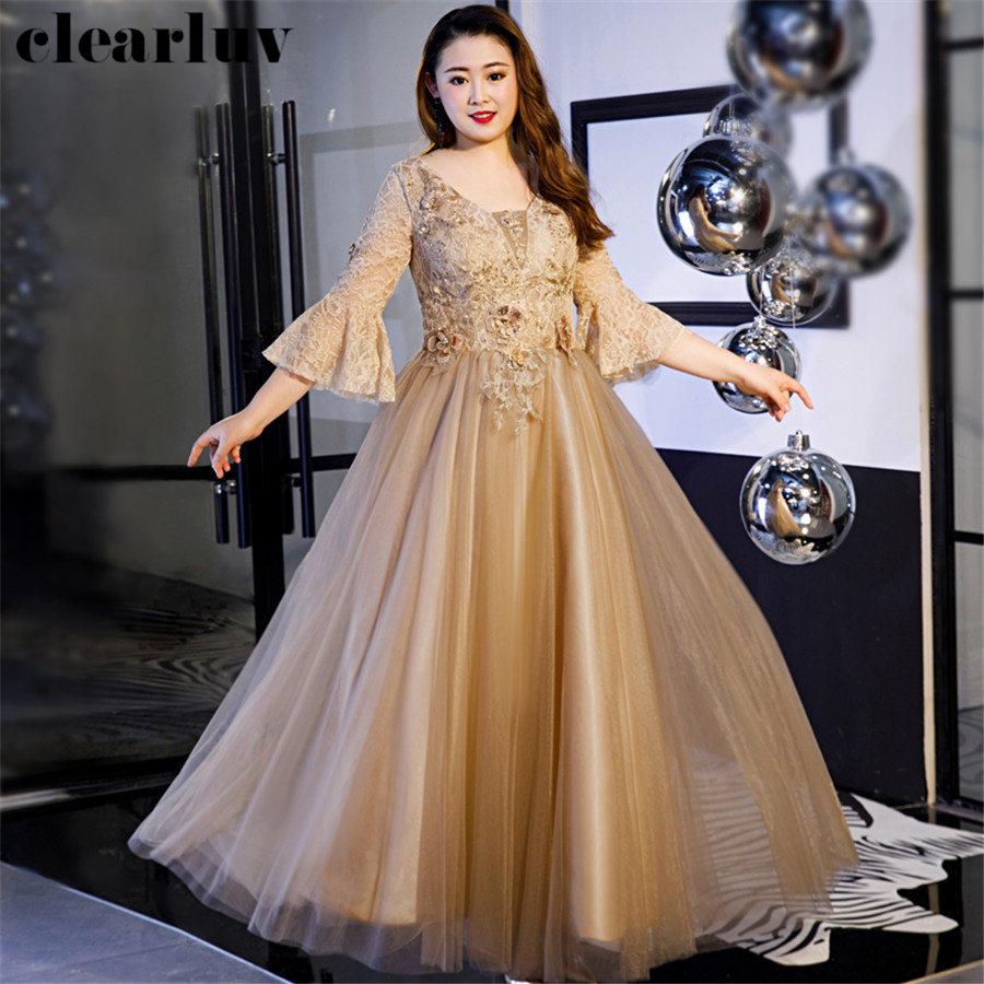 Evening Dress Plus Size Lace Flowers Robe De Soiree T541 2019 Elegant Women Party Dresses Brown Three Quarter Sleeve Prom Dress