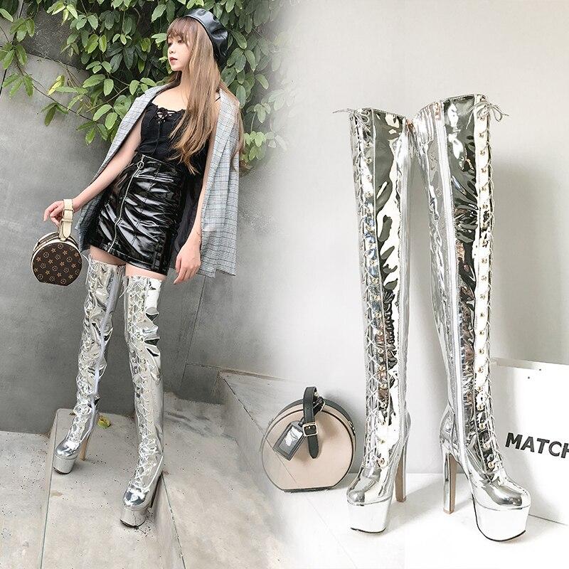 Intention originale mode sur le genou bottes hautes femme Platfrom bottes Super talons bottes d'hiver bottes miroir argent chaussures femme grande taille - 4