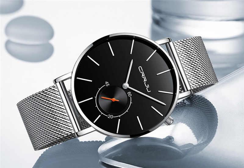 Marque CRRJU montre pour hommes Relogio Masculino Ultra mince en acier inoxydable montre-bracelet mâle horloge Sport montres hommes horloge