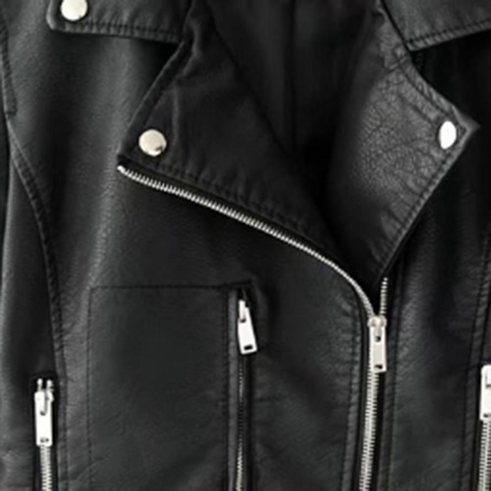 H9ba0ca22f65043d1b519e36fe3b0ac71q Fashion Punk Women Coat Jacket Leather Long Sleeve Lapel Zipper Button Motorcycle Jacket Short Coat For Women's Clothings