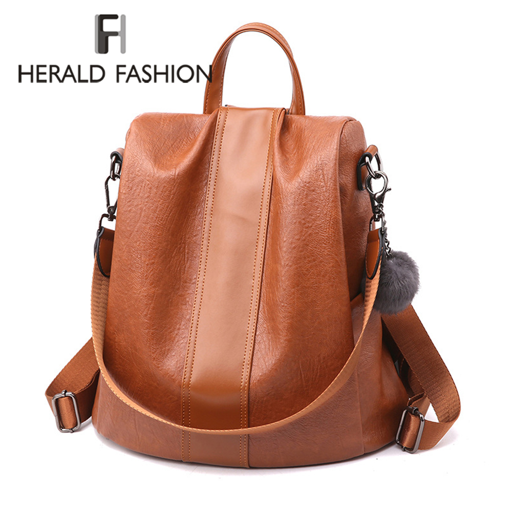 HERALD FASHION Quality Leather Anti thief Women Backpack Large Capacity Hair Ball School Bag for Teenager girls Male Travel Bags-in Backpacks from Luggage & Bags