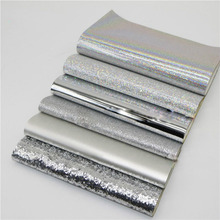 6Pcs 20x22cm Sliver Series Glitter Fabric Faux Artificial Synthetic Leather Fabric DIY Sewing Handicrafts Hair Bow Accessories 6pcs 20x22cm shinny glitter fabric diy sewing patchwork faux leather upholstery fabric hnadicarft diy bow accessories material