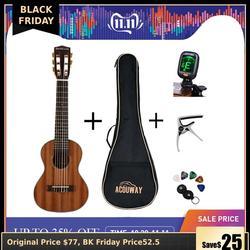 Acouway 28 inch Gitaar Guitalele Guitarlele ukulele Sapele body 6 Snaren 18 Frets Klassieke Knop met optionele tas, tuner, capo
