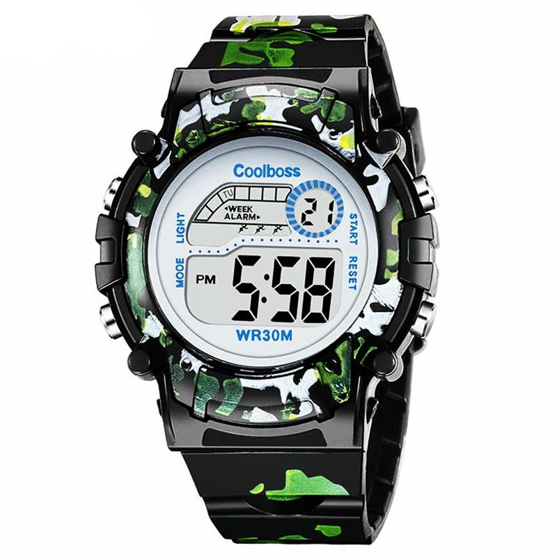 Camouflage  Children Watch Led Digital Wristwatch Kids Watches Boys Girs Students Clock Waterproof Sport Gift Relojes Army Green