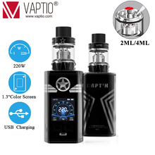 Original Vaptio CAPT'N vape Kit 2.0ml/4.0ml tank Top filling with 220w box mod Fitted 510Thread Tank Electronic Cigarette Vapori stretchy fitted suture tank top