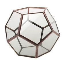 Decorative Glass Vase Transparent Diamond Geometric Shape Fashion Ornament for Home Wedding - Copper 2, 10 x cm