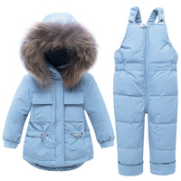 Baby Girl Winter Clothes Fashion Racoon Collar Down Jackets + Overalls Christmas Infant Outfits Kids Bebes Down Suits Tracksuits