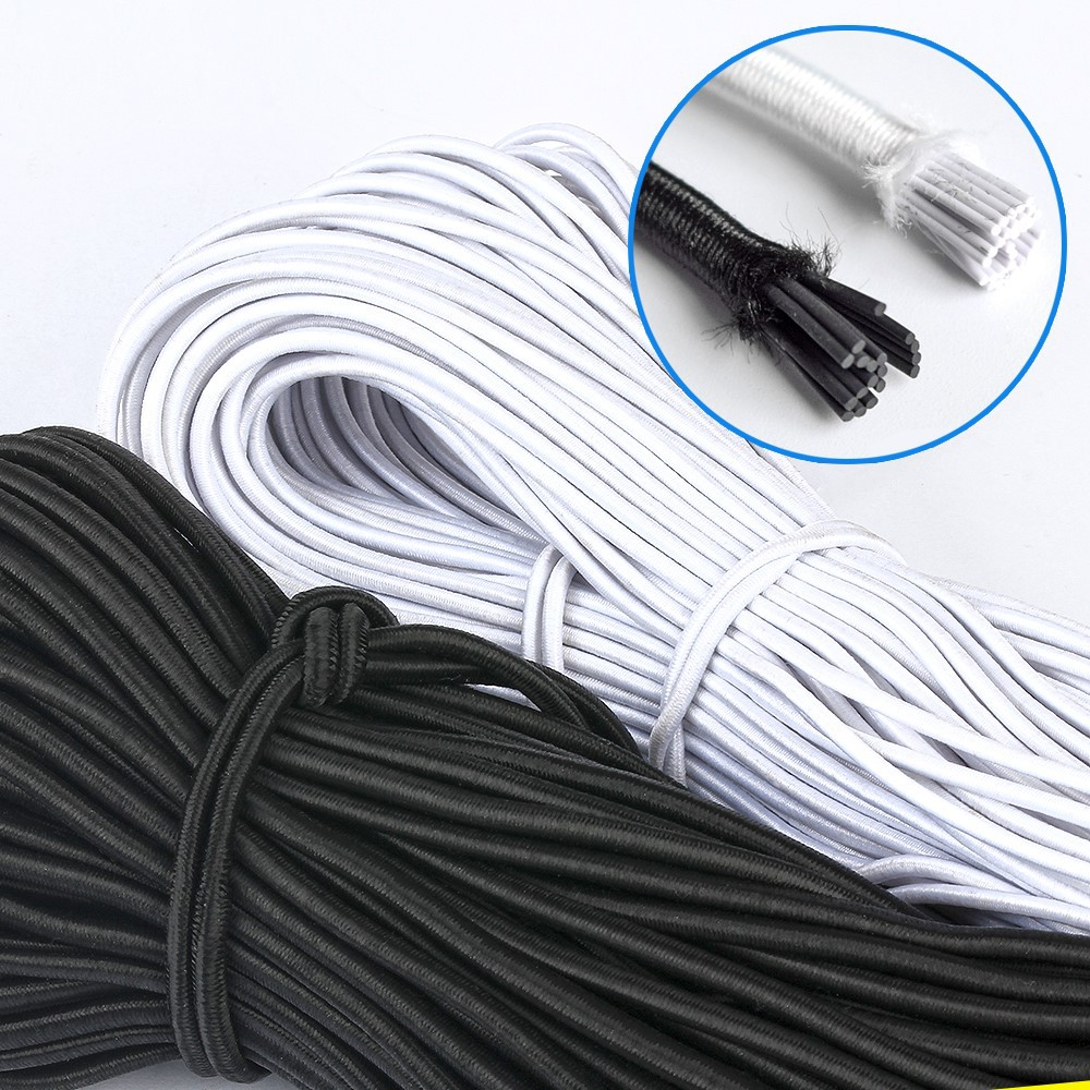 Wholesale 1MM/2MM/3MM White/black Round Elastic Rubber Bands Elastic Rope Wedding Garment Elastic Tape For DIY Sewing Accessorie