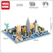 Weagle 2550 New York City สถาปัตยกรรมอนุสาวรีย์เทพีเสรีภาพ Empire State Building 3D DIY เพชรขนาดเล็กบล็อกของเล่นไม่มีกล่อง