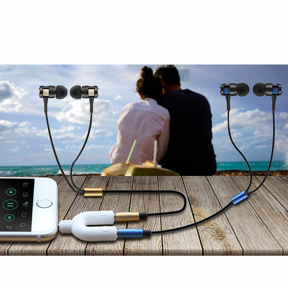 Mosunx 2019 3.5mm Stereo Audio Y Splitter 2 żeński na 1 męski adapter do kabla dla słuchawki do telefonu komórkowego komputera PC Laptop