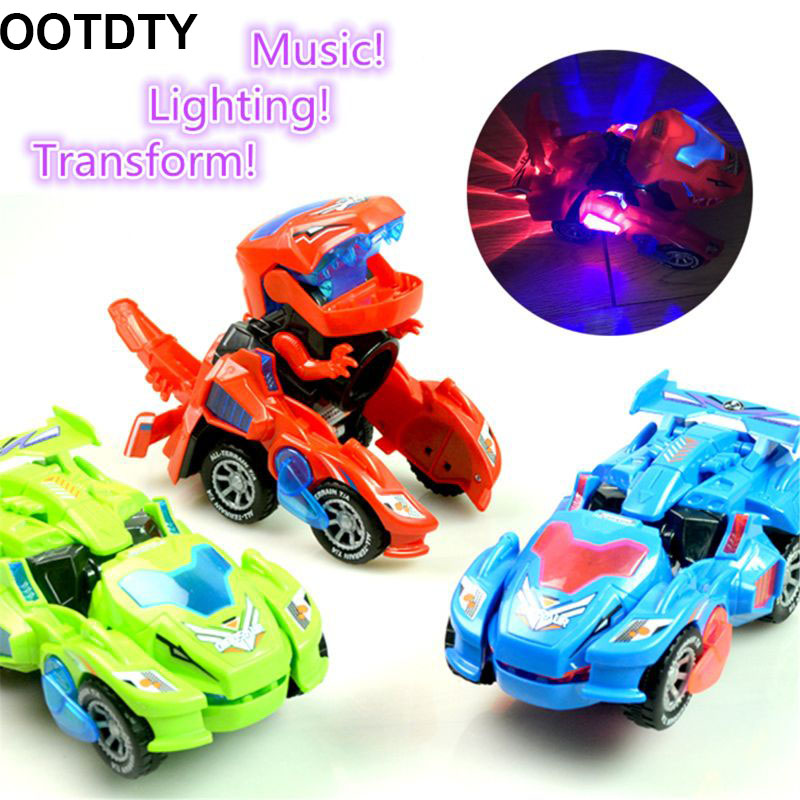Transforming Dinosaur LED Car Dinosaur Transform Car Toy Automatic Dino Dinosaur Transformer Toy Car For Kids 3+ Years Old