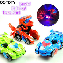 Transforming Dinosaur LED Car Transform Toy Automatic Dino Transformer for Kids 3+ Years Old