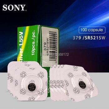 100PCS Sony Single grain packing 1.55V Button Coin Cell Batteries 379 SR521SW D379 V379 V520 280-59 GP379 SR63 AG0 618 JA LR521