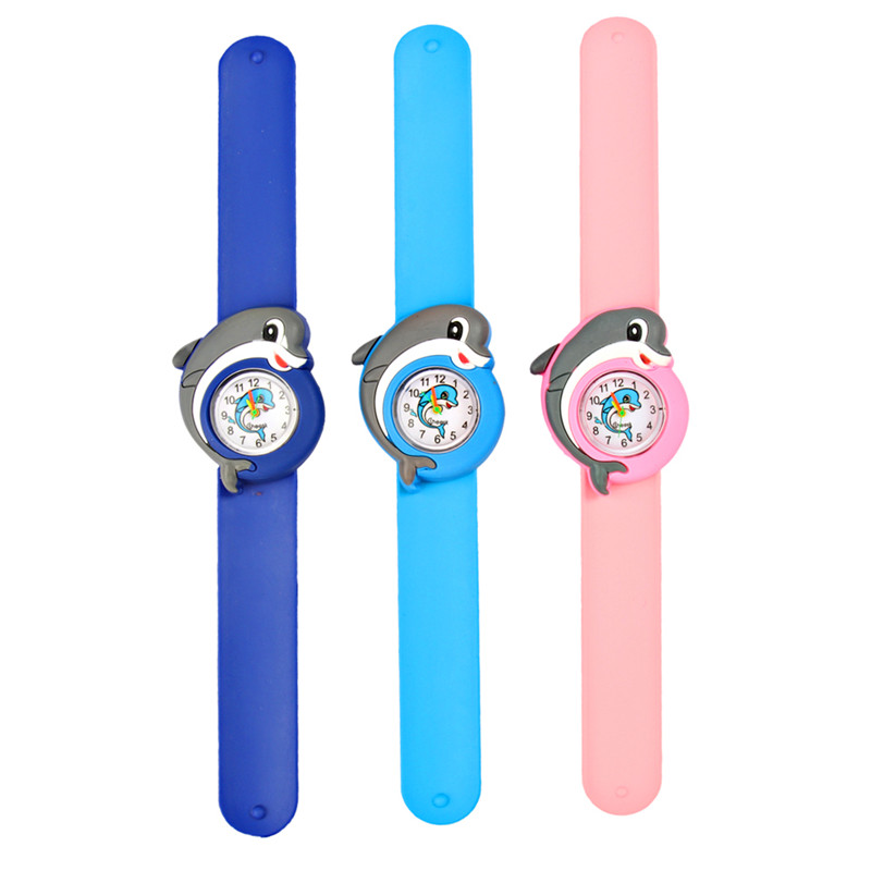 Girl Boy Sports Wristwatch Kids Cartoon Dolphin Silicone Quartz Pat Circle Watch 3D Cute Slap Children Watch Baby Clock Gifts
