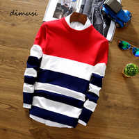 DIMUSI Autumn Mens Pullover Sweater Casual Men O-Neck Striped Turtleneck Shirt Mens Wool Slim Fit Knitted Pull Sweaters Clothing