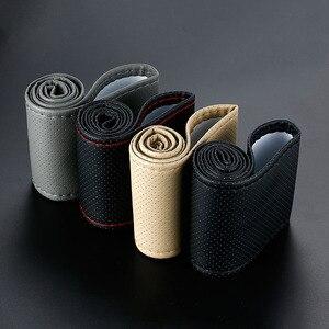 Image 5 - 車のステアリングホイールスイート編組カバー針と糸人工皮革カバーテクスチャソフトオートアクセサリーステアリングハンドル