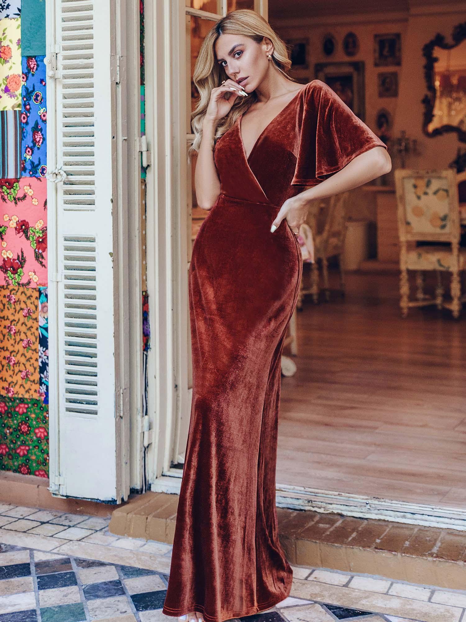 Robe de soirée Elegant Double V Neck Velvet Party Dresses for Women Evening Dresses Cream Plus Size Vestido de noche A-LINE Gown