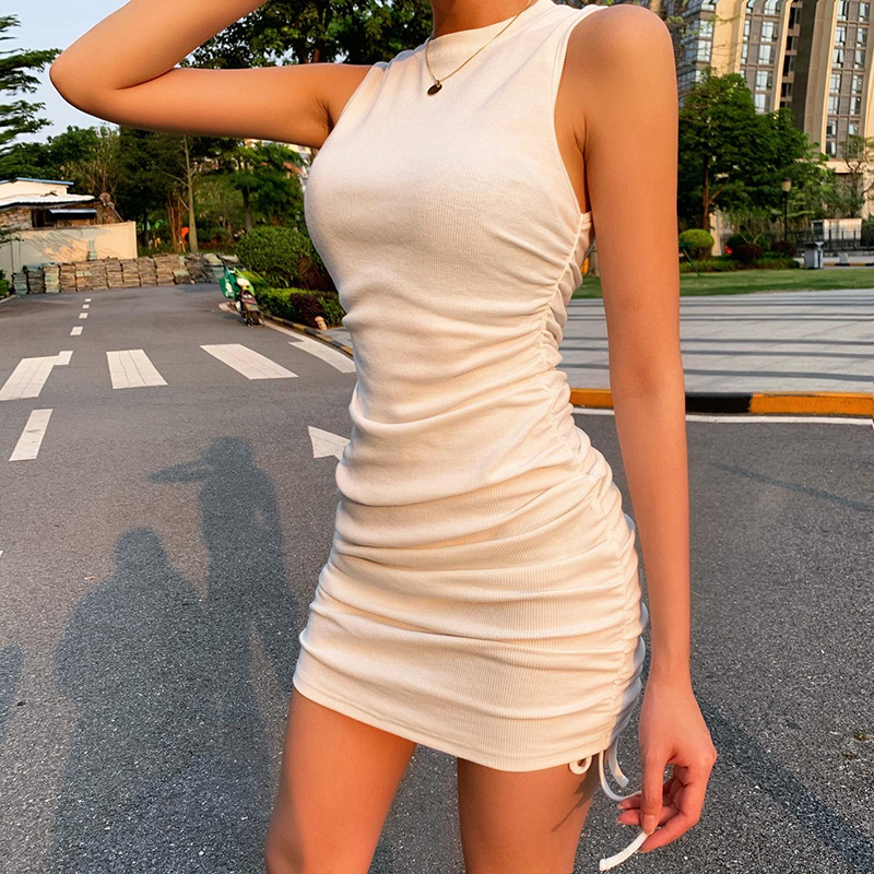 WannaThis Sleeveless Short Dresses Women Drawstring O-Neck Slim Elastic Ruched Off Shoulder Mini Casual Summer Party Dress Solid 1