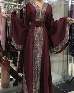Image 2 - אלגנטי דובאי ערבית מוסלמיות נשים העבאיה שמלת משובץ מואר אבן האיסלאם קפטן עטלף קפטן שרוול ארוך בגדים אסלאמיים גלימה