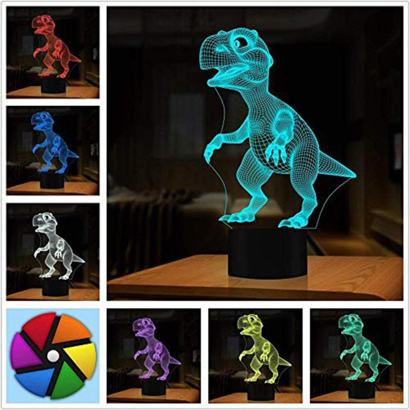 3D Dinosaur Kids LED Lamp Touch Control 7 Colors Night Light Halloween Christmas Decor Clear Texture Strong Durable Bright Color