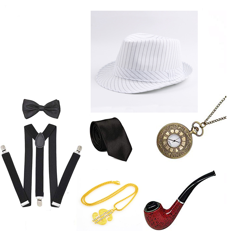 1920s Mens Gatsby Gangster Accessories Set 30s Vintage Watch Cigar Panama Hat Suspender Bow Tie Cosplay Costumes