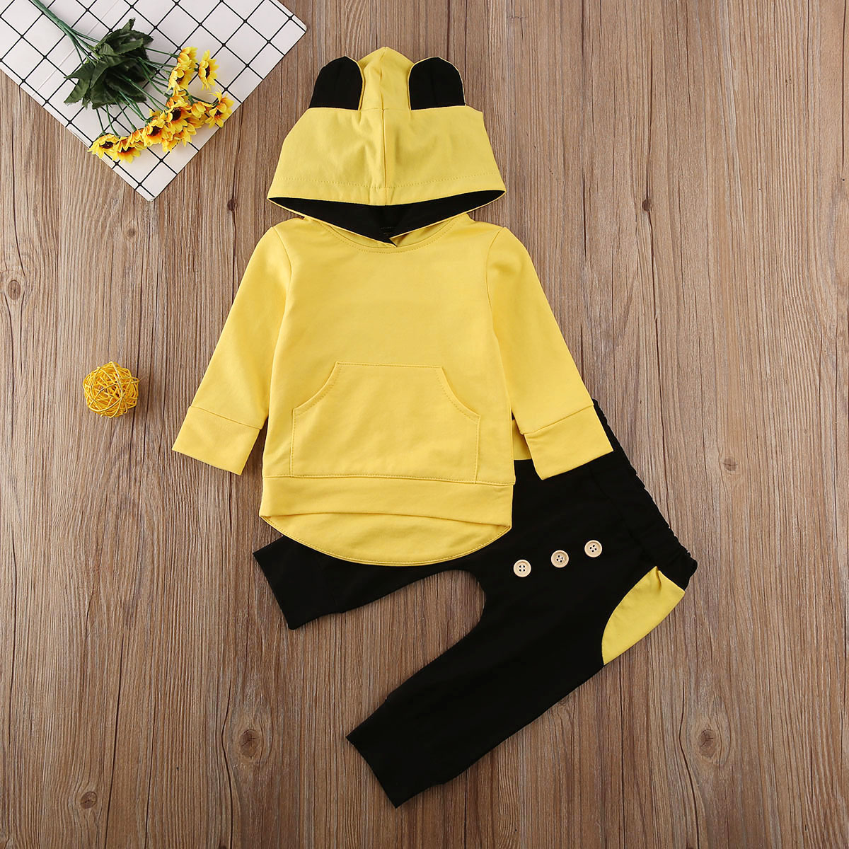 New Kids Baby Girl Boy 0-3T Spring 2020 Clothes Long Sleeve Hooded Tops+Pants Outfits