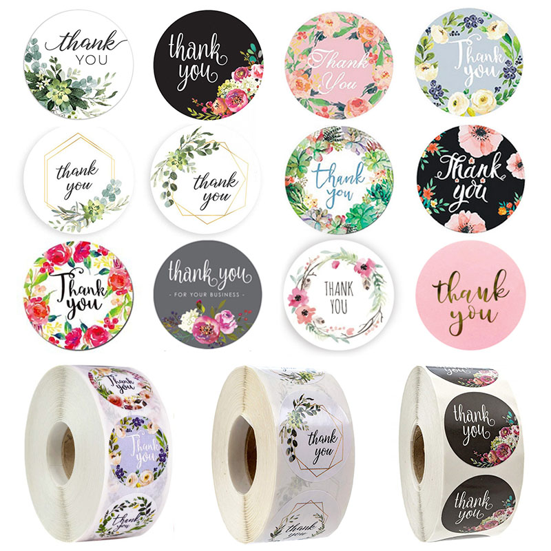 500pcs/roll 2.5cm DIY Handmade With Love Label Wedding Adhesive Sticker Kraft Round Floral  Seal Labels Thank You Sticker