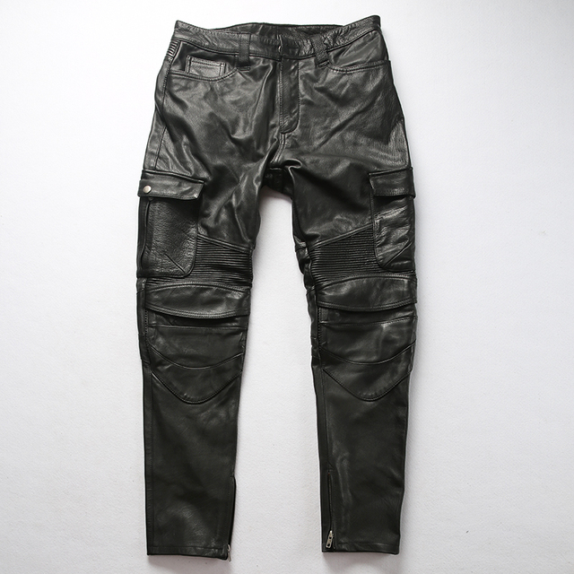 Factory 2019 New Men Vintage Gray tooling multi-pocket Cow leather motorcycle leather pants Fashion Pleated Rider Biker pants 42