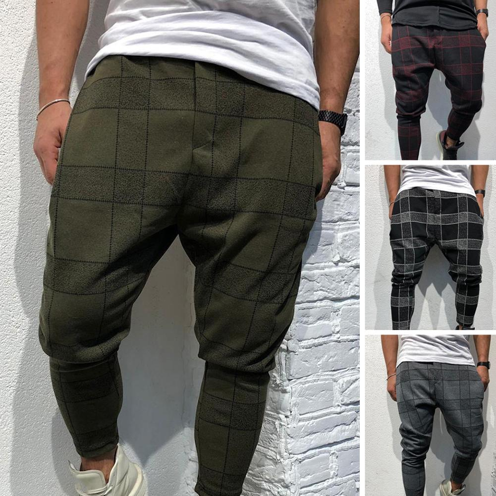 2019 Fashion Men 3D Plaid Print Pocket Trousers Pencil Pants  Business Casual Sports Gym Wear Outdoor Trendy Bottoming Shirt