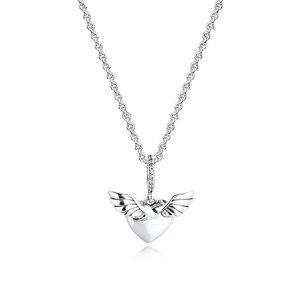 Image 4 - Pave serce i skrzydła anioła naszyjnik i wisiorek srebro biżuteria kobiety nowa biżuteria DIY hurtownia naszyjnik