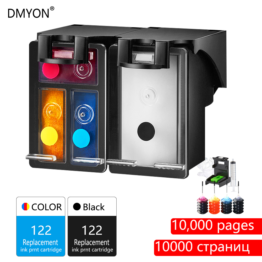 DMYON 122XL Refill Ink Cartridge Replacement for <font><b>HP</b></font> <font><b>122</b></font> Deskjet 1000 1050 2000 2050 2510 3000 3054 4500 4630 4632 5530 Printer image