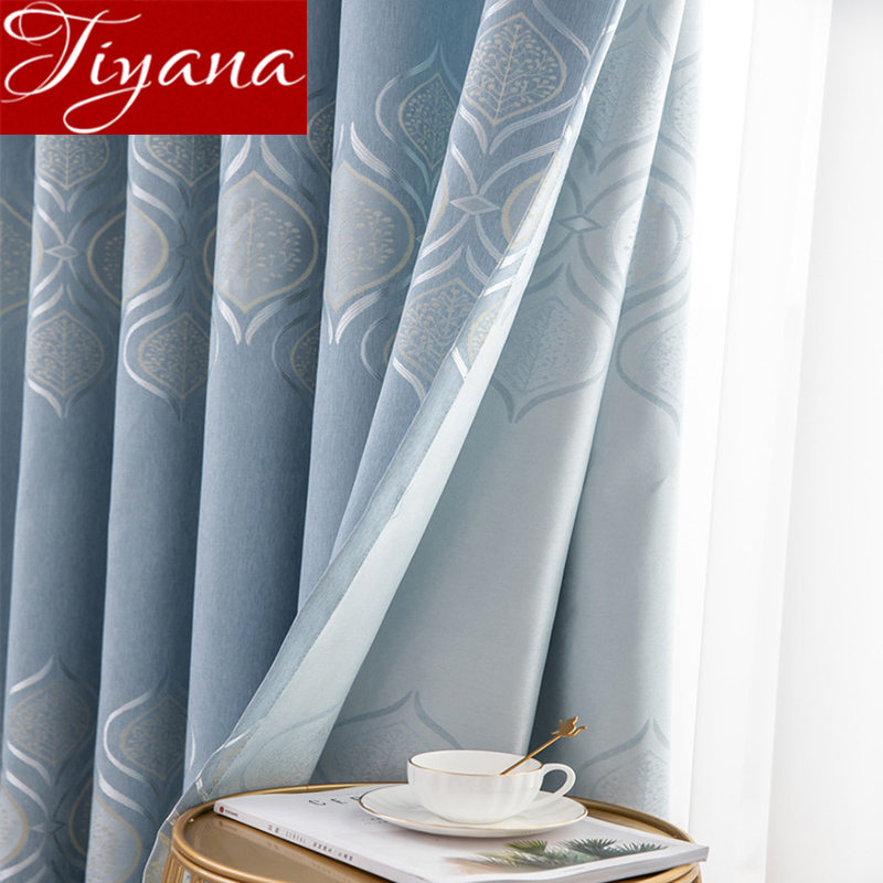 Modern Fabric Curtains Tree Pattern Blue Blackout Cloth For Window Bedroom Living Room Hotel Drape Tulle Curtain Kitchen M206#30