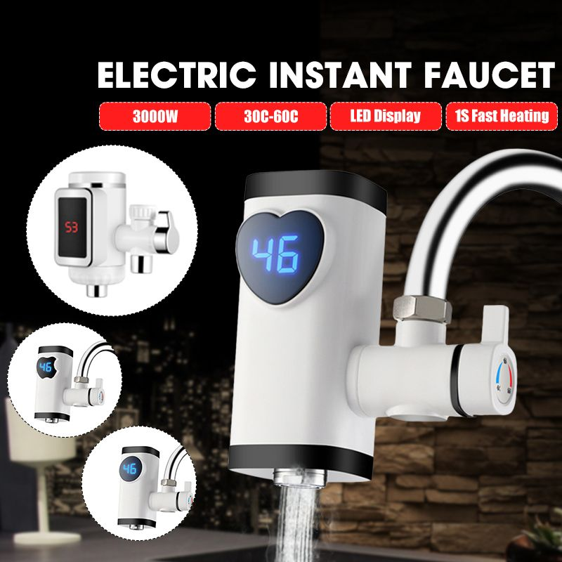 3000W Tankless Fast Heating Water Tap Electric Kitchen Faucet Instant Hot Water Digital LCD Display Electric Faucet Water Heater