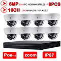 Dahua 6MP 16+8 Security CCTV System 8PCS 6MP POE Zoom IP Camera IPC-HDBW4631R-ZS &16POE 4K NVR4216-16P-4KS2 Surveillance NVR Kit